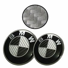 82mm+74mm BMW Black Carbon Fibre Badge Emblem Set (front+back) e60 e61 e46 e90