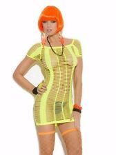 Short Sleeve Strappy Mini Dress with Cut Outs Holes Neon 8860V