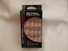 Royal Couture 24 Nail Tips Pink/Silver Swirl Design New