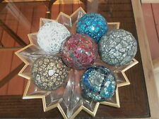 Carpet Ball MOSAIC Glass Crackle Mirror Mirrored Set of 6 Balls Multi Colors NEW