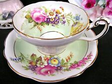 FOLEY TEA CUP AND SAUCER FLORAL PATTERN TEACUP PALE GREEN BANDS TEACUP