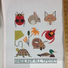 Handpainted Needlepoint Canvas Charley Harper Space for all Species animals