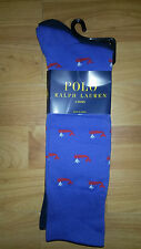 POLO RALPH LAUREN 2-PAIRS WHALE TROUSER SOCKS. ROYAL & NAVY, 1 SIZE (6-12) NEW