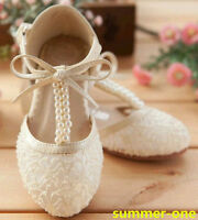GIRLS WHITE LACE BRIDESMAID PARTY WEDDING COMMUNION LOW HEEL KIDS SANDALS SHOES