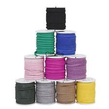 10 Roll Faux Suede Flat Leather Cord Lace String 3mm Spool For Jewelry DIY