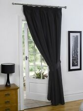 Black  66'' x 84'' Supersoft Blackout Thermal Pencil Pleat  Door Curtain