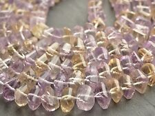 "HAND FACETED AMETRINE TWISTED RONDELLES, approx 6-7mm, 10"",  60+ beads"