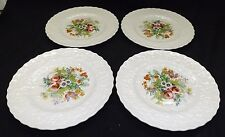 Alfred Meakin Set of 4 Embossed Floral Design Hand Painted Enameled Salad Plates