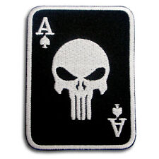 Ace Punisher Skull Patch Iron on Seal Harley Chopper Biker Cards Motorcycle V2