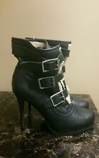 Womens VERA WANG High Heel above the ankle boots, 6.5 us, Black, Leather, GUC