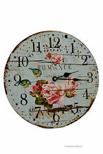 "European-Design 13"" Large Wood Romance Pink Roses & Birds Turquoise Wall Clock"