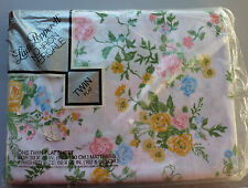 Vintage Lady Pepperell Floral Twin Flat Sheet Flower Yellow Blue Pink NIP