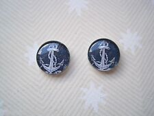 *DOMED GLASS NAUTICAL NAVY BLUE ANCHOR* Stud 12mm Silver Plated Earrings Sailor