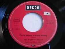 The Poppy Family That's Where I Went Wrong / Shadow on my Wall 1970 Import 45rpm