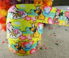 1 METRE GALON GROS GRAIN RIBBON /* 25mm /* MINNIE ET PLUTO BÉBÉ DISNEY