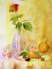 NATURA MORTA, VASO, frutta, rosa/Originale Acquerello firmata da Gorza/28x38 cm