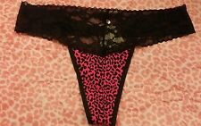 Victorias Secret THONG panty panties SEXY Pink Black Leopard Lace NWT s Small