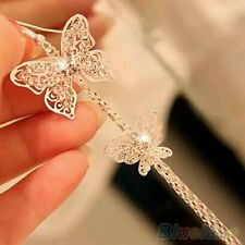 Women's Double Layers Butterfly Long Gold  Plated Rhinestone Hook Earrings