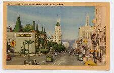 1936 HOLLYWOOD CA Hollywood Boulevard old Cars Graumans Chinese Theatre postcard