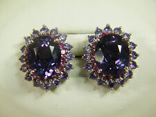 EARRINGS: LONDON BLUE TOPAZ RED RUBY PURPLE AMETHYST 22+ CTS 925 STERLING SILVER