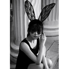 Black Halloween Costume Party Rabbit Bunny Ears Headband With Lace Eye Mask