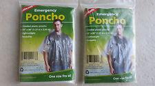 TWO Coghlan's Emergency Hooded Rain Poncho one size Camping # 9173 raincoat NEW