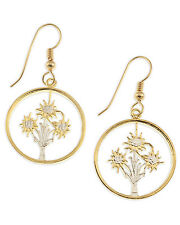 "Austrian Edelweiss Earrings, 14 K Gold and Rhodium Plated, 3/4"" in Dia,( #11E )"