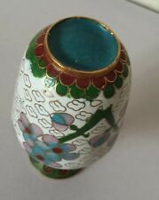 19c CHINA CHINESE CLOISONNE ENAMEL ON BRONZE FLORAL WHITE SMALL VASE