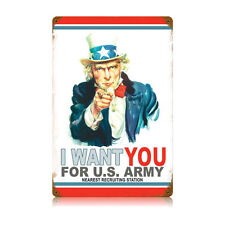 WWI Flagg Recruiting Poster Uncle Sam I Want US Army Tin Metal Steel Sign 12x18