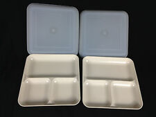 "Tupperware Ultra 21 Divide-A-Dish Meal Tray  #1659  8 3/4"" Square Lids Set of 2"