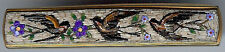 DELIGHTFUL ANTIQUE VICTORIAN GOLD FILL MICRO MOSAIC SWALLOW BIRDS & FLOWERS PIN*