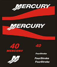 Adesivi motore marino fuoribordo Mercury bande rosse 40 cavalli hp four stroke