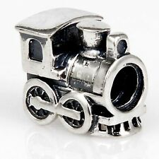 Genuine Solid 925 Sterling Silver Locomotive Train  Charm Bead