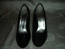 "CAPARROS BLACK SEQUINED FABRIC SHOES WITH 2.5"" HEELS. SZ 8.5B"
