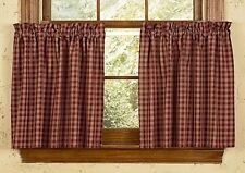 """Country Primitive Burgundy Sturbridge Plaid Tier Curtains 36"""" Wine Cottage Cabin"""