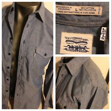 Vintage LEVI'S 50/50 Cotton Poly Chambray Denim Color Shirt Mens L White Tab