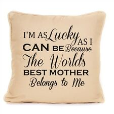 Mothers Day Cotton Cushion Mum Im As Lucky As Can Be Quote Gift Home Present
