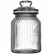 Set Of 2 990ml Ribbed Glass Storage Jars With Lids Small Kitchen Sweet Container