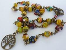 Tree of Life Vintage Style Millefiori Bead Necklace Made to your desired length!