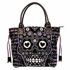 BANNED BLACK PURPLE SUGAR SKULL CANVAS TOTE SHOULDER BAG HANDBAG GOTH EMO PUNK