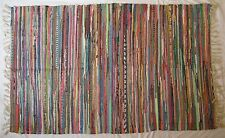 Large Multi Colour Fair Trade Indian Recycled Cotton Rag Rug boho ethnic decor