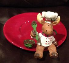 NEW~Yankee Candle~CHOCOLATE MOOSE CHEF TRAY/PLATE/BASE~NIB~CHRISTMAS