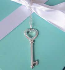 "Tiffany & Co Silver Blue Bead Open Heart Key Charm Pendant 30"" Chain Necklace"