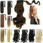 NEW brown curly straight wrap around ponytail clip in hair Extensions hair piece