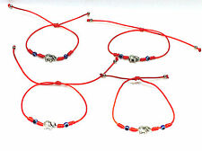 Elephant Silver Charm Red Thread String Bracelet Adjustable (4PCS)