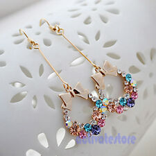 Shiny Colorful Bow Bling  Rhinestone Crystal Bead Wreath Korean Style Earrings