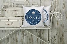"""Dekokissen,weiß,""""BOATS"""",maritim, modern,Landhaus,43x43cm, mit Füllung"""