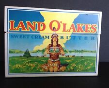 Vintage Tin Litho Land O' Lakes Recipe File Box with Cards Recipes Advertising