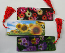 3 Bookmarks - 3D Lenticular - Colorful Flowers with Red Tassle