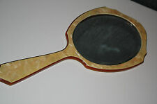 Large Antique Amber and Celluloid Portrait Mirror 14'' Tall